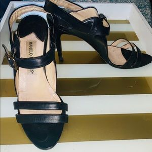 Manolo Blahnik Black Leather Strap Heels